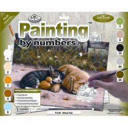 Obrázek Malování podle čísel- Spící pes s kočkou