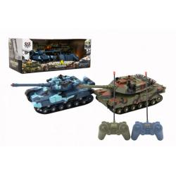 Obrázek Tank RC 2ks 19-21cm plast tanková bitva na baterie se zvukem se světlem v krabici 39x15x19cm