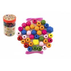 Obrázek Korálky dřevěné barevné MAXI s gumičkami 106 ks v plastové dóze 9x13cm