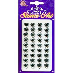 Obrázek Samolepicí kamínky - stříbrná srdce