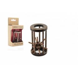 Obrázek Hlavolam ježek v kleci kovový hnědý 4,5x7,5cm v krabičce 7,5x16x5cm
