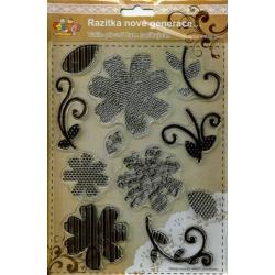 Obrázek Gelová razítka - květy a stonky - proužkované, tečkované a s notami