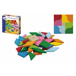 Obrázek Mozaika barevná dřevěná 49 ks v krabici 20x20x4cm