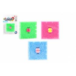 Obrázek Bludiště/Labyrint hlavolam plast 7x7cm 3 barvy na kartě