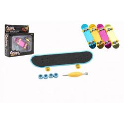Obrázek Skateboard prstový šroubovací plast 9cm s doplňky 4 barvy v krabičce 14x14x4cm