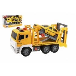 Obrázek Auto kamion přepravník+1 auto plast na setrvačník na bat. se zvukem se světlem v krabici 36x21x14