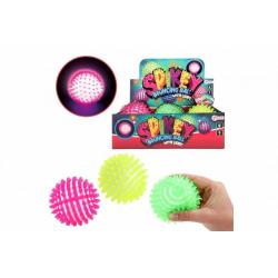 Obrázek Míček antistresový skákací gumový 10cm na baterie se světlem  3 barvy v síťce 6ks v boxu
