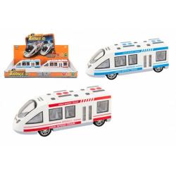 Obrázek Metro/vlak/tramvaj plast 21cm na baterie se světlem se zvukem 2 barvy na setrvačník 6ks v boxu