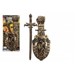 Obrázek Meč so štítom plast 48cm na karte