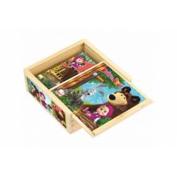 Obrázek Kostky kubus dřevěné Máša a Medvěd 9ks v krabičce 13x13x5cm 12m+