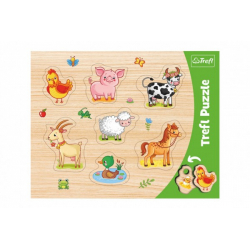 Obrázek Vkládačka/Puzzle deskové obrysové zvířátka farma 37x29cm ve fólii