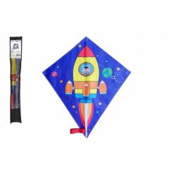 Obrázek Drak létající nylon 70x60cm kosmická raketa v sáčku 10x72cm