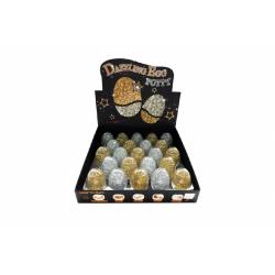 Obrázek Sliz - hmota vajcia trblietavé glitter 7cm - 2 farby 23ks v boxe