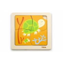Obrázek Dřevěné puzzle 4 dílky - želva