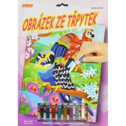 Obrázek Obrázek ze třpytek - Papoušci