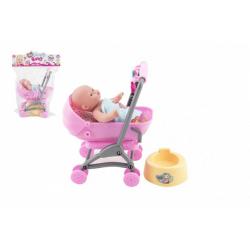 Obrázek Miminko/panenka kloubová 12cm v kočárku 10x14x18cm plast s doplňky v sáčku