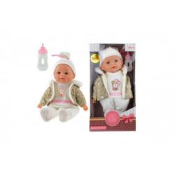 Obrázek Panenka miminko v zimním oblečku měkké tělo s lahvičkou plast 30cm v krabici 17x30x10cm 24m+