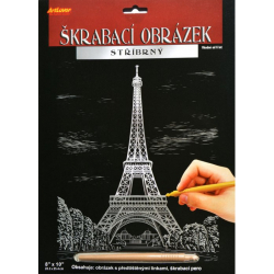 Obrázek Škrabací obrázek stříbrný 20x25 cm - Eiffelova věž