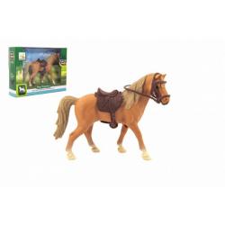 Obrázek Kůň se sedlem plast 15cm v krabičce 19x14x5cm