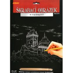 Obrázek Škrabací obrázek stříbrný 20x25 cm - Karlštejn