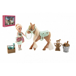 Obrázek Panenka/žokejka 14cm kloubová s koněm plast s doplňky v krabici 30x23x6cm
