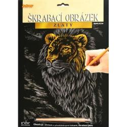 Obrázek Škrabacie obrázok zlatý - Lev