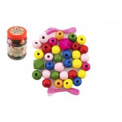 Obrázek Korálky dřevěné barevné MAXI s gumičkami 54ks v malé plastové dóze 7x11cm