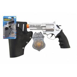 Obrázek Policejní pistole klapací 20 cm v pouzdru  s odznakem plast na kartě