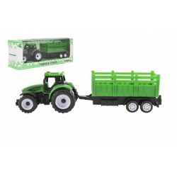 Obrázek Traktor s vlekem plast 21cm na volný chod 2 barvy v krabičce 23x9x6cm