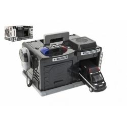 Obrázek Garáž policie/swat + auto 15 cm na baterie se světlem se  zvukem v krabici 37x20x24,5cm