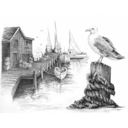 Obrázek Malování SKICOVACÍMI TUŽKAMI- Racek