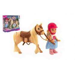 Obrázek Panenka žokejka Kiki Anlily kloubová 12cm plast s koněm v krabičce 18x16x5cm