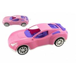 Obrázek Auto sportovní pro holky růžové plast na volný chod v síťce 16x36x12cm
