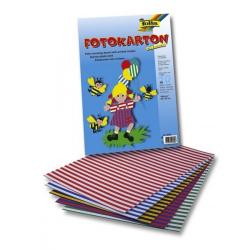 Obrázek Barevné papíry proužkované, 25x35 cm- sada 10 listů, 300g