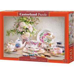Obrázek Puzzle Castorland 500 dílků - Zátiší s porcelánem a květinami