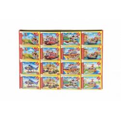 Obrázek Minipuzzle Dopravní prostředky  54 dílků 16,5x11cm mix druhů v krabičce 9x6,5x3cm 32 ks v boxu
