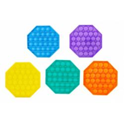 Obrázek Bubble pops - Praskající bubliny silikon antistresová spol. hra 5 barev osmihran 12x12cm v sáčku