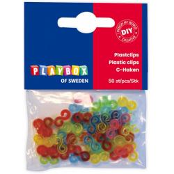 Obrázek Plastové zapínání ke gumičkám ve tvaru S, mix barev, 50 ks