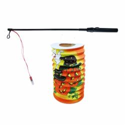 Obrázek Lampion dýně Halloween 15 cm se svítící hůlkou 39 cm