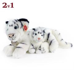 Obrázek Plyšový tygr bílý s mládětem 38 cm