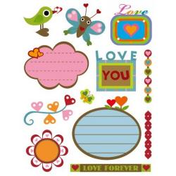 Obrázek Pečiatky gélová - Gélová pečiatky - Láska + štítky so srdiečkami