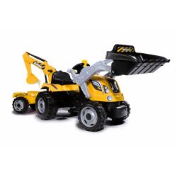 Obrázek Šliapací traktor Builder Max s bagrom a vozíkom