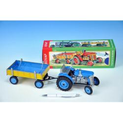 Obrázek Traktor Zetor s valníkem modrý na klíček kov 28cm Kovap
