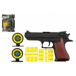 Obrázek Pistole špuntovka 17cm plast + náboje 12ks + terč 2ks na kartě