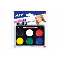 Obrázek Barvy na obličej se štětečkem 6 barev na paletce na kartě 15,5x16cm