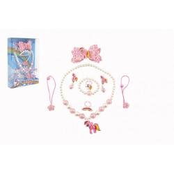 Obrázek Sada krásy jednorožec náušnice,náhrdelník,sponky do vlasů, prstýnky 2ks plast v krabičce 17,5x25x4cm
