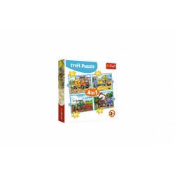 Obrázek Puzzle 4v1 Pracovní Vozidla v krabici 28x28x6cm