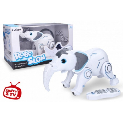 Obrázek Robo-slon RC plast 33 cm na baterie + dobíjecí pack se světlem se zvukem v krabici 46x26x23cm
