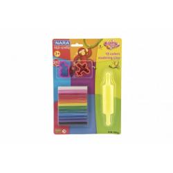 Obrázek Modelína/Plastelína Nara 100g 12ks s vykrajovátky 2ks s válečkem na kartě 18,5x26cm
