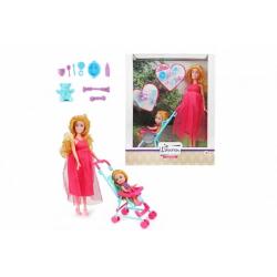 Obrázek Panenka těhotná pevné tělo kloubová plast 28cm s dítětem v kočárku s doplňky v krabici 25x31x7,5cm